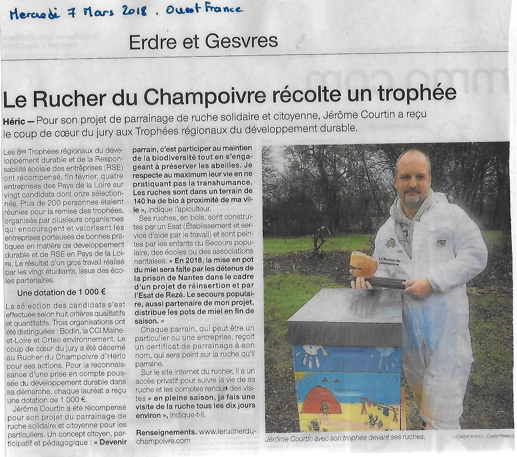 Article ouest France 8 Mars 2018